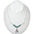 Turquoise Silver Feather Dangle Link Necklace 29254