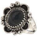 Navajo Black Onyx Silver Ring 28596