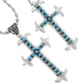 Sterling Silver Turquoise Navajo Cross Pendant Removable Bail 29754