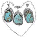 Navajo Genuine Turquoise Pendant 29849