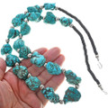 Turquoise Magnesite Silver Bead Necklace 29854