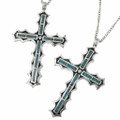 Genuine Kingman Turquoise Cross Pendant 29947