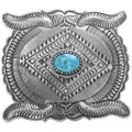 Kingman Turquoise Overlaid Silver Belt Buckle 29948