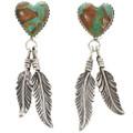 Turquoise Heart Feather Post Dangle Earrings 29984