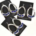 Lapis Gemstone Large Teardrop Navajo Earrings 29991