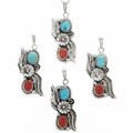 Pretty Turquoise Coral Silver Pendant 29996