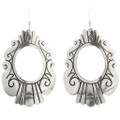 Hammered Silver Earrings Navajo French Hook 30017
