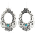 Turquoise Silver Native American Earrings 30057