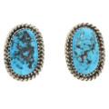 Kingman Turquoise Silver Navajo Made Earrings 30125