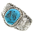 Genuine Turquoise Silver Navajo Ring 30131