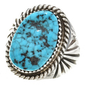 Kingman Turquoise Navajo Sterling Silver Ring 30134