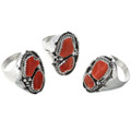 Twist Wire and Drops Coral Mens Rings 30194
