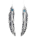 Silver Turquoise Feather Earrings 30213