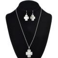 Sterling Cross Pendant Earring Set 30242
