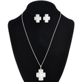 Navajo Sterling Silver Cross Pendant Set 30243