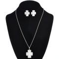 Navajo Sterling Silver Cross Pendant Set 30243