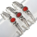 Country Western Coral Silver Bracelet 30291