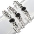 Country Western Sterling Silver Black Bracelet 30293