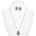 Turquoise Silver Thunderbird Pendant Set With Post Earrings and Chain 30461