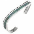Inlaid Opal Silver Navajo Cuff 30612