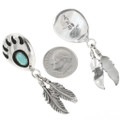 Sterling Silver Bear Paw Turquoise Earrings 30637