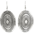 Silver Concho Hammered Navajo French Hook Earrings 30639