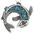 Turquoise Silver Fish Pendant 30909