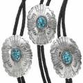 Native American Turquoise Silver Bolo Tie 31015