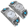 Native American Turquoise Silver Watch 31202