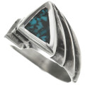 Native American Inlaid Silver Turquoise Ring 31204