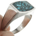Inlaid Silver Turquoise Ring 31211