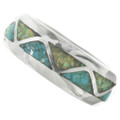 Silver Turquoise Inlay Navajo Ring 31276