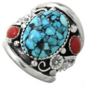 Turquoise Coral Sterling Mens Ring 31325
