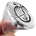 Native American Bear Paw Overlay Silver Ring 31339