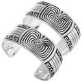 Silver Overlay Navajo Man in Maze Bracelet 31350