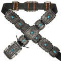 Vintage Sterling Silver Turquoise Concho Belt 31365