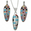 Turquoise Corn Design in Sterling Silver Pendant 31387