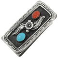 Turquoise Coral Silver Money Clip 31407