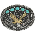 Navajo Turquoise Silver Gold Belt Buckle 31433
