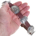 Brown or Black Leather Silver Concho Hatband 31482