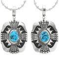 Navajo Made Turquoise Silver Pendant 31611
