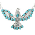 Turquoise Silver Eagle Pendant Necklace 31624