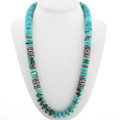 Navajo Turquoise Silver Beaded Necklace 31628