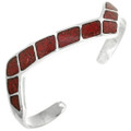 Navajo Inlaid Silver Coral Cuff Lightning Zigzag Bracelet 31816