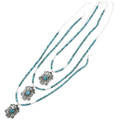 Blue Spiderweb Turquoise Beaded Southwestern Pendants 31824