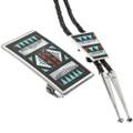 Inlaid Zuni Bolo Tie Set With Buckle 31832