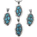 Navajo Kingman Turquoise Nuggets Pendants 32005