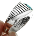 Turquoise Chiseled Silver Navajo Ring 32023