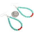 Blue Green Turquoise bead French Hook Earrings 32036