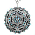 Zuni Turquoise Silver Pendant Necklace 32094